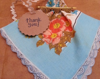 Vintage hankie, Thank you, Birthday, wedding hanky, handky, handkerchief scalloped with brooch thank you or bridal gift - many available!