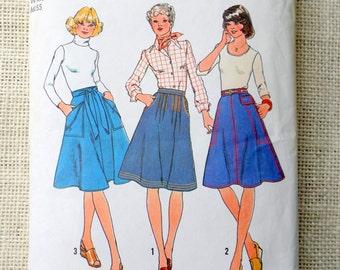 Simplicity 7915 Vintage Sewing Pattern Wrap Skirt A Line Waist 28 Wraparound pleated Denim Pockets