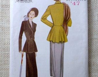 Butterick 6256 Reproduction 1947 pattern Bust 34, 36, 38 peplum suit Dress Pattern Sewing War era slim skirt Retro