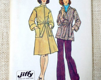 Vintage Pattern Simplicity 6633 1970s Ladies trench coat wrap Bust 32.5 cloth Belted