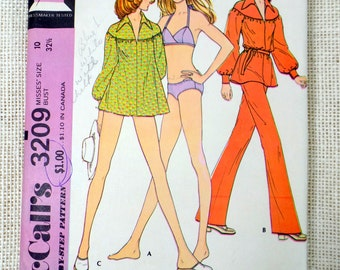 McCall's 3209 Vintage sewing pattern Bikini 1970s bathing suit Bikini flare pants Poet smock Top Bust 32.5 bell Bottoms Hippie