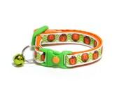 Pumpkin Cat Collar - Pumpkins on Green Chevrons - Small Cat / Kitten Size or Standard / Large Size Collar