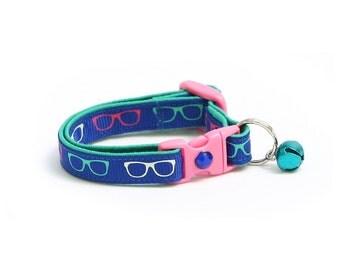 Hipster Cat Collar - Nerd Glasses on Blue - Kitten or Large Size