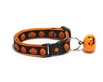 Halloween Cat Collar - Happy Jack-O-Lanterns on Black - Kitten or Large Size