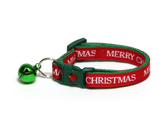 Christmas Cat Collar - Bold Merry Christmas on Red - Kitten or Large Size