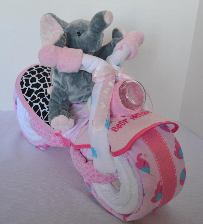g teau de couches pour le v lo moto baby cake l phant. Black Bedroom Furniture Sets. Home Design Ideas