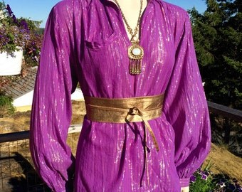 Vintage GRAPE PURPLE India Gauze Hippie Top L XL