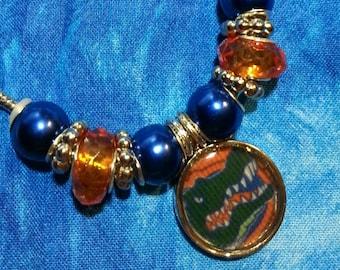 Florida Gators European Beaded bracelet, Gator ball, Gator Fan, Orange and blue, gator, University of Florida