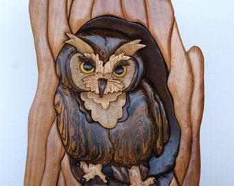 Screech Owl Intarsia Wall Hanging Wood Carving Wooden Bird Wood Owl Animal Carving Wall Decor Home Decoration Home Decor Wooden Intarsia Art