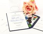 Script Invitation Suite, SAMPLE SET - Lovebird Wedding Invitation Script Wedding Invitation