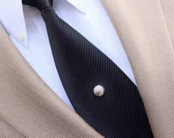 Silver Tie Pin, Silver Tie Tack, Round Tie Tacks, Mens Tie Pins, Mens Tie Tacks, Gift for Him, Mens Fashion Accessories