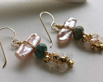 SALE Pink Aqua Dangle, Biwa Pearl Earrings, Stick Pearl Earrings, Pink Pearl Cluster, Moonstone Cluster Earrings:  15% Off, Ready to Ship