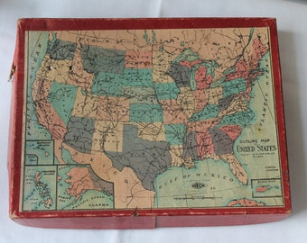 Vintage 1920's 1930's Wilder Mfg Co United States Puzzle Vintage United States Puzzle