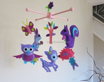 Customize Baby Mobile - Purple Animals in the Jungle Theme Nursery Crib Mobile - Purple Decorative Hanging Mobile  (Choose your color)