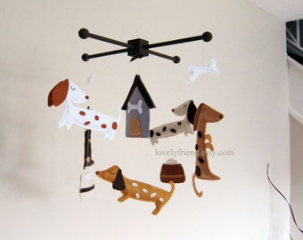 Customize Baby Mobile - Cute Weenie dog Theme Nursery Crib Mobile - Dachshund Hanging Mobile (Choose your color)