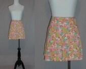 60s Floral Skort - Pink Green Blue Print - Skirt Shorts - Vintage 1960s - S M