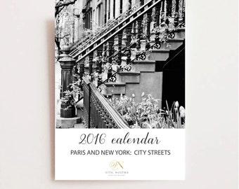 2016 Calendar - Paris and New York Calendar - Desk Calendar - Black and White Calendar - City Streets - Urban Photography - Cafe Art - NYC
