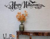 Halloween wall decal - Happy Halloween in handwritten style - Halloween Decoration - front door decal
