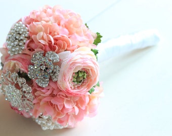 Sale Pink Pearl Brooch Bouquet Silver Crystal Blush Handmade USA Pastel Silk Lilac Peony Rose Flowers In Stock Ready To Ship 1000665