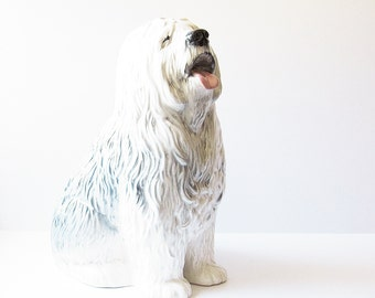 Large Beswick Old English Sheepdog Figurine - Porcelain Collectible - Albert Hallam Fireside Series - Made In England - Gift For Dog Lover