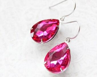 Fuschia Pink Earrings Magenta Glass Jewel Earrings Rhinestone Earrings Dark Pink Wedding Bridesmaids Jewelry Silver Pear Drop Earrings