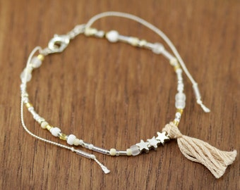 bohemian bracelet, silk cord, silver-plated stars, boho chic, artisantree