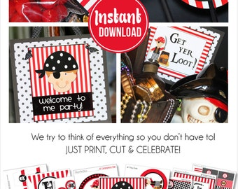 Pirate Party Decorations | Pirate Birthday | Pirate Party Centerpiece | Pirate Party Favor | Instant Download | Amanda's Parties To Go