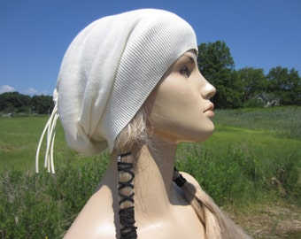 Summer Hats Lightweight Slouchy Beanie Long Tie Back Tube Tam Ivory Cotton A1299