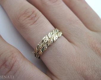 Leaf Wedding Ring, Gold Wedding Leaf Ring, Leaves Wedding Ring, Leaf Gold Ring, Wedding Leaves Ring, Forest Wedding Ring, Gold Floral Ring