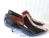 SALE Unworn Celine Black Leather and Snake Skin Black Kitten Heel Booties 39.5/9-9.5