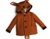 Fawn Coat, Boy's Outerwear, Deer Jacket, Handmade Boys Clothing, Wool Felt Child's Coat