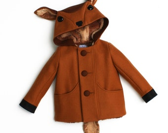 Fawn Coat, Boy's Outerwear, Deer Jacket, Handmade Boys Clothing, Wool Felt Child's Coat