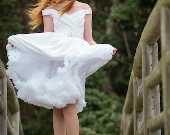 Tea Length Wedding Dress, Off Shoulder, Cotton Eyelet, FLIR-TINI, Short Wedding Dress
