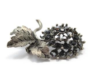 Antique Silver Pom Pom Flower Brooch with Swarovski Crystals
