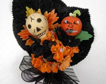 SALE Vintage Halloween Corsage Decoration Spun Cotton Skull JOL Black Orange Forget Me Nots Velvet Millinery Goth Costume