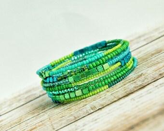shimmering mermaid green memory wire bracelet