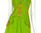 VINTAGE LACROIX acid green denim busiter dress