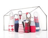 3-D family in 12th scale Miniature - Handmade Family Dolls for Dollhouse,Grandparents, parents & children, Modern Family in red blue colors