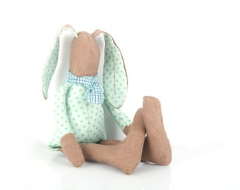 Baby bunny doll - Modern stuffed animal ,brown SMALL rabbit doll in mint green polka-dot shirt & mint blue plaid tie - Timo eco friendly toy
