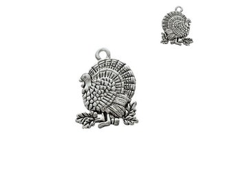 2-Sided, Silver Plated, Antiqued, Turkey Charm, Qty.1