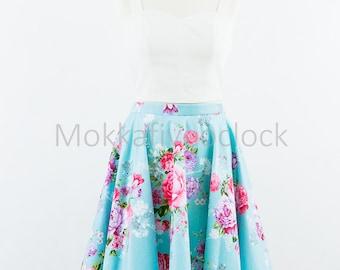 Custom made floral skirt, vintage inspired floral skirt