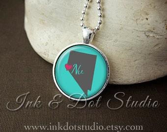Nevada Necklace, Love Nevada Pendant, Custom NV State Pendant, Nevada Jewelry, Customizable