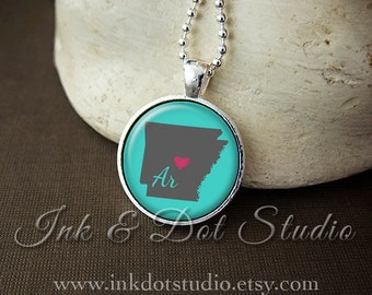 Arkansas Necklace, Love Arkansas Pendant, Custom State Pendant, Arkansas Jewelry, Customizable