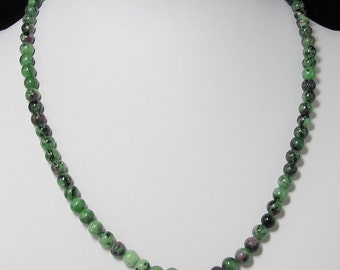 Ruby Zoisite 6mm and 925 Silver 19 inch necklace