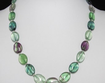 Fluorite oval 925 Silver 19 inch Necklace