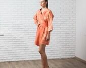 Pumpkin felted coat, rust orange, fall autumn fashion, nuno felted kimono rustic halloween boho