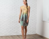 Felted dress , autumn fall fashion, nuno felted dress bridesmaid wedding idea mint mustard rust rustic