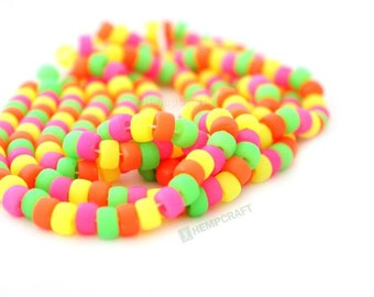 Neon Crow Roller beads, 30pc Neon Colored UV Reactive Glass Crow Pony Beads, 6mm