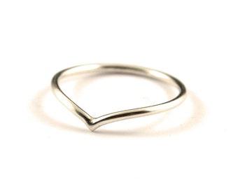 Silver chevron ring -  stackable V ring -  arrow ring -  skinny chevron ring -  stacking silver ring