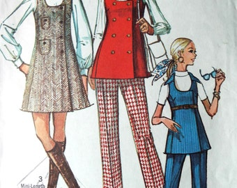 Vintage 1970s Mod Simplicity Pinafore Tunic Double Breast Sewing Pattern B 33.5